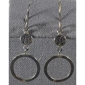 Silver Hammered Circles With Pendant Earrings